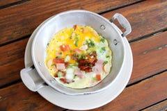 Egg pan breakfast Stock Photo