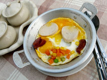 Egg pan. Egg mix vegetable in pan for breakfast Royalty Free Stock Image