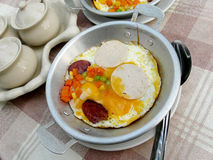 Egg pan. Egg mix vegetable in pan for breakfast Royalty Free Stock Images