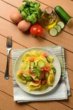 Egg pappardelle with zucchini and tomato. Closeup Royalty Free Stock Image