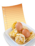 Egg and pasta Stock Image