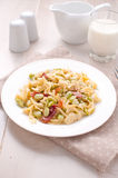 Egg pasta with cream sauce and vegetables Royalty Free Stock Images