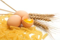 Egg, pasta and wheat Royalty Free Stock Photography