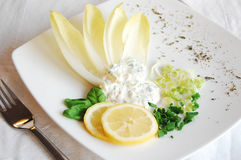 Egg paste and chicory salad. Egg paste salad with lemon, chicory, chive and basil leaves Royalty Free Stock Photography