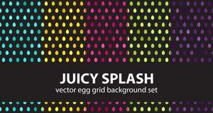 Egg pattern set Juicy Splash. Vector seamless backgrounds. Cyan, yellow, rose, green, violet eggs on black backdrops stock illustration