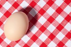 Egg on picnic tablecloth Stock Photos