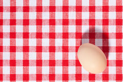 Egg on picnic tablecloth Royalty Free Stock Photography