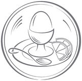 Egg. The pictogram with the image of a boiled egg and two segments of a lemon. Vector illustration vector illustration