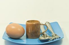 Egg place on a plate Stock Images