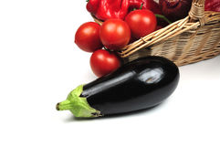 Egg plant and other vegetables Royalty Free Stock Photos