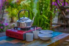 Egg porridge and hot coffee for breakfast. Easy fast food cooking a simple egg porridge and hot coffee for breakfast Stock Images