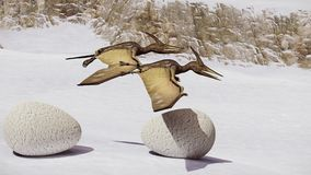 Egg and pterodactyl 3d rendering. Egg and pterodactyl fighting with each other Royalty Free Stock Photos