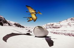 Egg and pterodactyl 3d rendering Stock Image