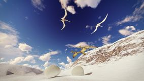 Egg and pterodactyl 3d rendering. Egg and pterodactyl fighting with each other Stock Photo