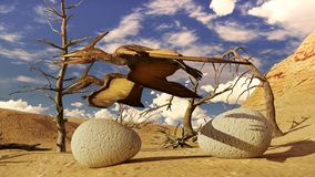 Egg and pterodactyl 3d rendering Royalty Free Stock Image