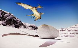 Egg and pterodactyl 3d rendering Royalty Free Stock Images
