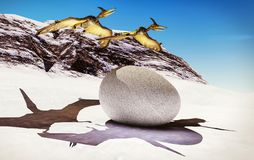 Egg and pterodactyl 3d rendering Stock Images
