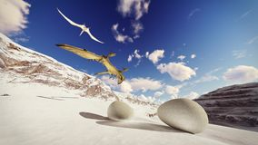 Egg and pterodactyl 3d rendering. Egg and pterodactyl fighting with each other Stock Photos