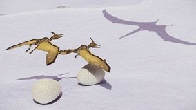 Egg and pterodactyl 3d rendering. Egg and pterodactyl fighting with each other Stock Images