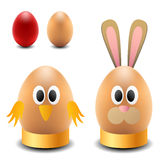 Egg rabbit and chicken for Easter Royalty Free Stock Photography