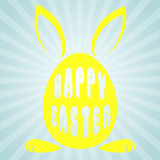 Egg with rabbit ears and the words happy Easter . Royalty Free Stock Photos