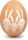 Egg with rabbit symbol Stock Photography