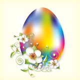 Easter egg and apple flowers Royalty Free Stock Images