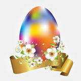 Easter Egg, apple flowers and golden banner Royalty Free Stock Image