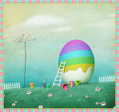 Egg and Rainbow. Pastel festive background or poster with egg and rainbow. Computer graphics Stock Photos