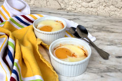 Egg in ramekin Stock Images
