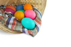 Egg in rattan basket. For easter celebration Stock Image