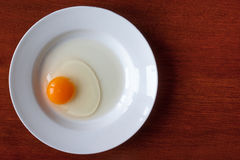 Egg. Raw egg in the  white plate Royalty Free Stock Images