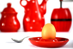 Egg on red holder Royalty Free Stock Images