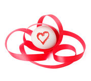 Egg with red ribbon and heart Royalty Free Stock Image