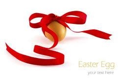 Egg with ribbon isolated Stock Photo