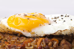 An egg on rice Stock Photos