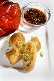 Egg roll and chicken dish Stock Photography