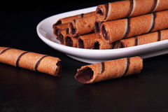 Egg roll with chocolate Stock Photography