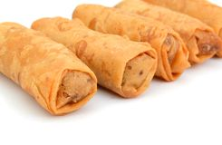 Egg roll. Food wrappers on row royalty free stock photos