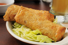 Egg rolls and beer Stock Image