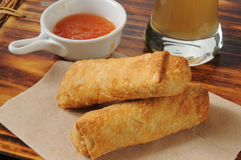 Egg rolls and beer Royalty Free Stock Photography