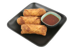 Egg Rolls & Chili Sauce Clipping Path stock photography