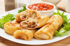 Egg rolls filled with vegetables Royalty Free Stock Photos
