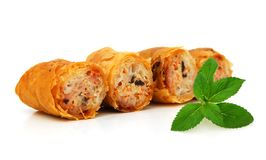 Egg rolls. Isolated on white background Vietnamese cuisine Royalty Free Stock Photography