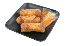 Egg Rolls & Sauces Clipping Path Royalty Free Stock Photography