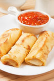Egg rolls with tomato sauce Royalty Free Stock Photography