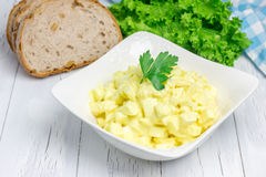 Egg salad in a bowl. With bread and lettuce on background Royalty Free Stock Photos