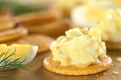 Egg Salad on Cracker Stock Image