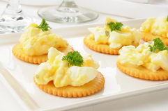 Egg salad on crackers Royalty Free Stock Photography