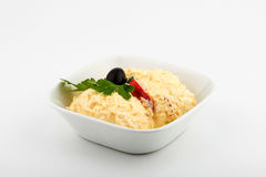 Egg salad. Front view. Selective Focus White background stock photography